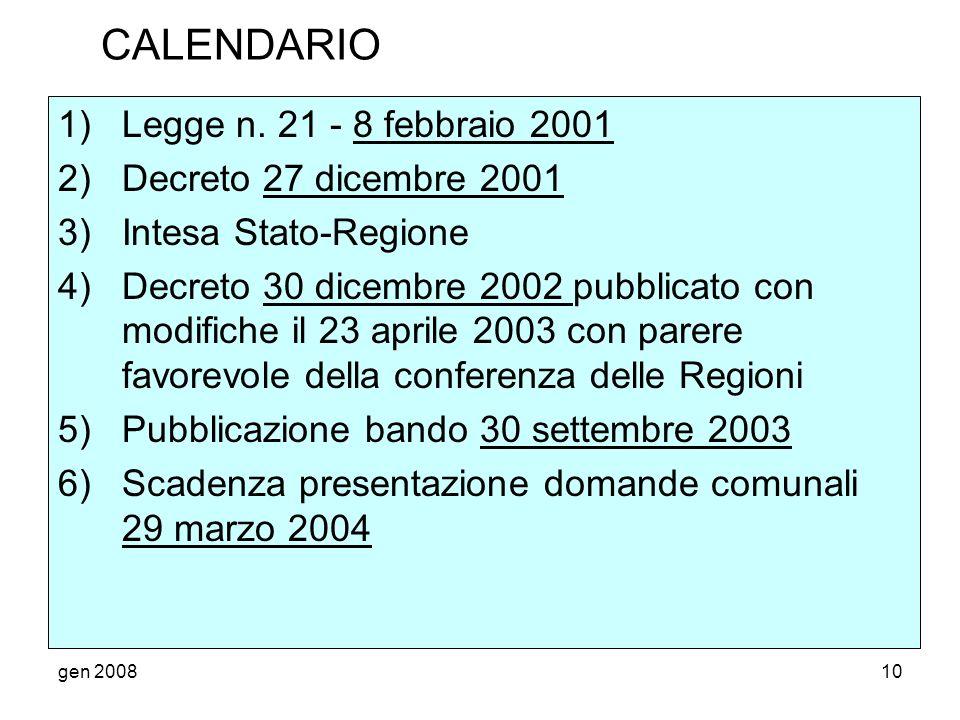 CALENDARIO Legge n. 21 - 8 febbraio 2001 Decreto 27 dicembre 2001
