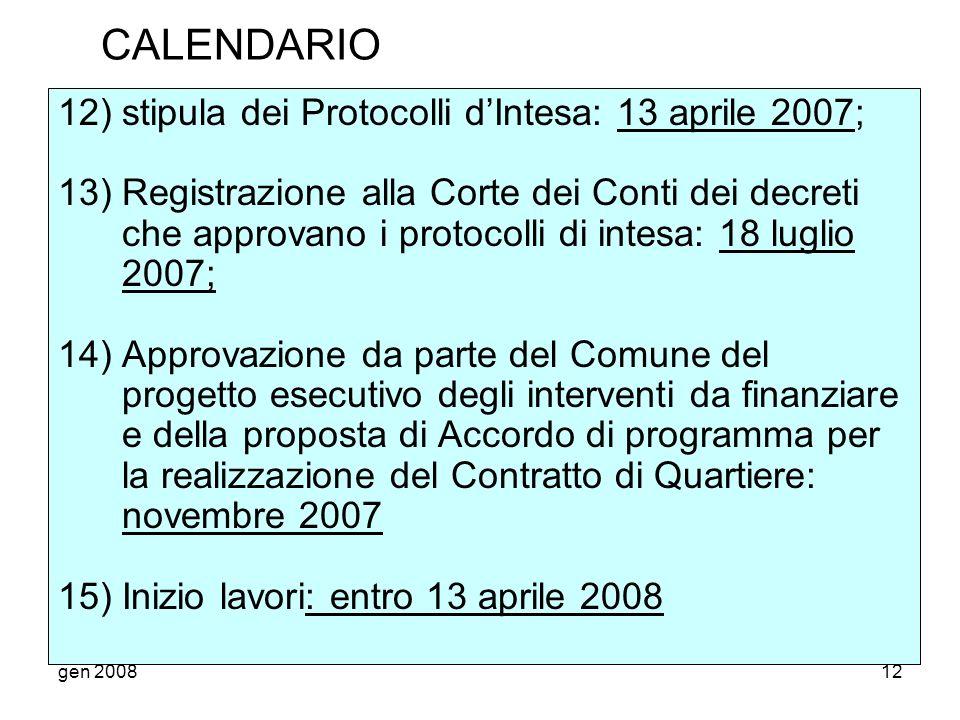 CALENDARIO 12) stipula dei Protocolli d'Intesa: 13 aprile 2007;