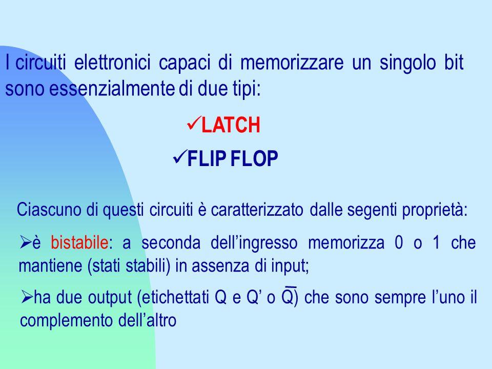I circuiti elettronici capaci di memorizzare un singolo bit sono essenzialmente di due tipi: