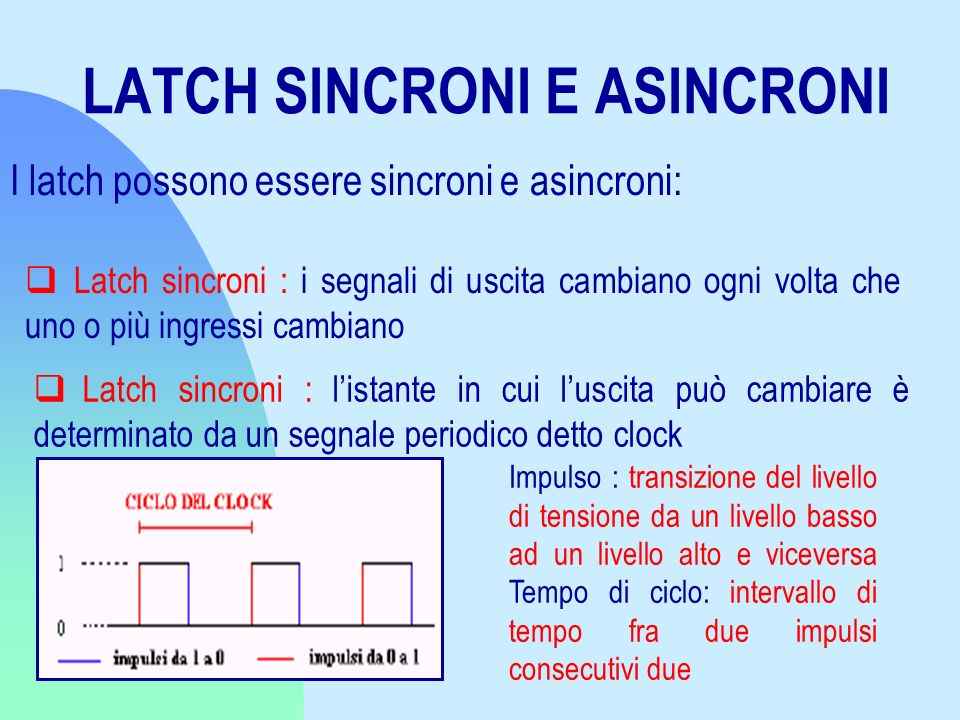 LATCH SINCRONI E ASINCRONI