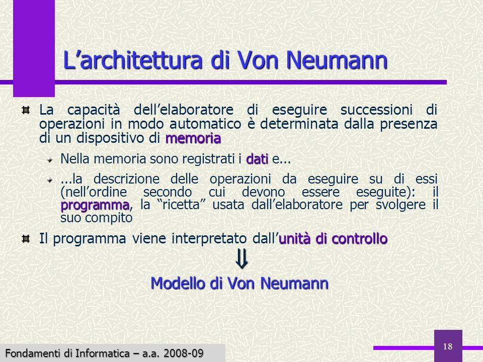 L'architettura di Von Neumann