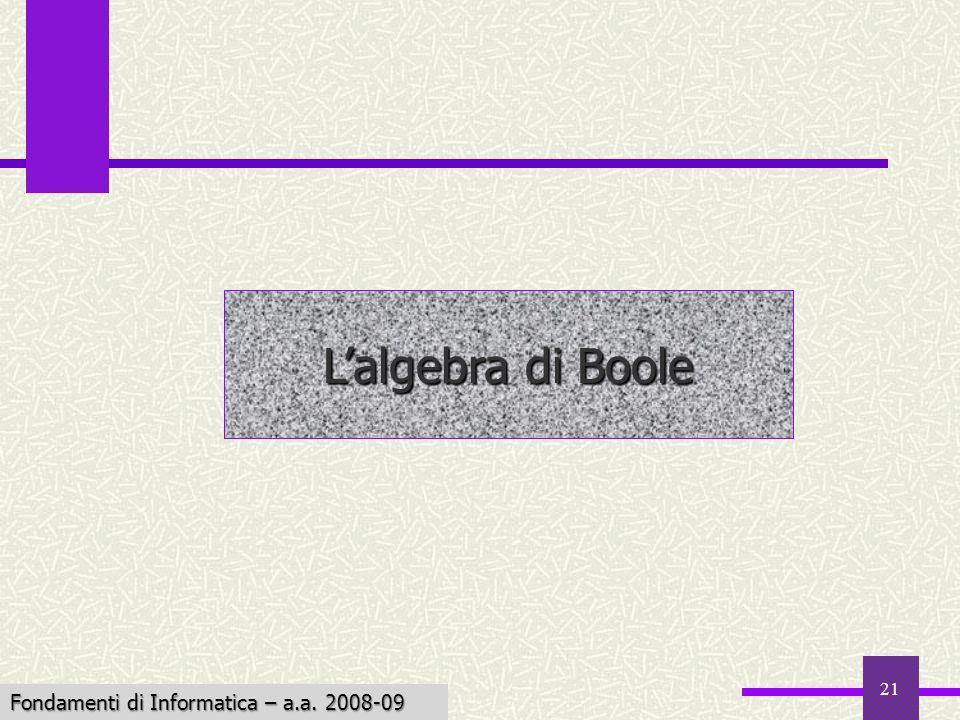 L'algebra di Boole Fondamenti di Informatica – a.a. 2008-09