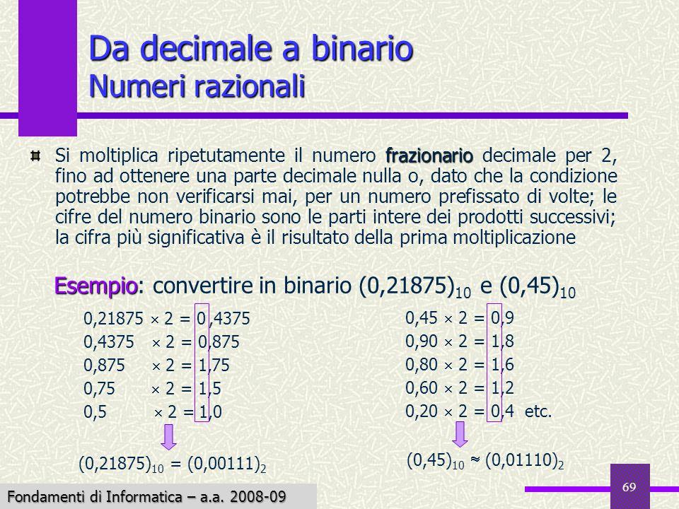 Da decimale a binario Numeri razionali