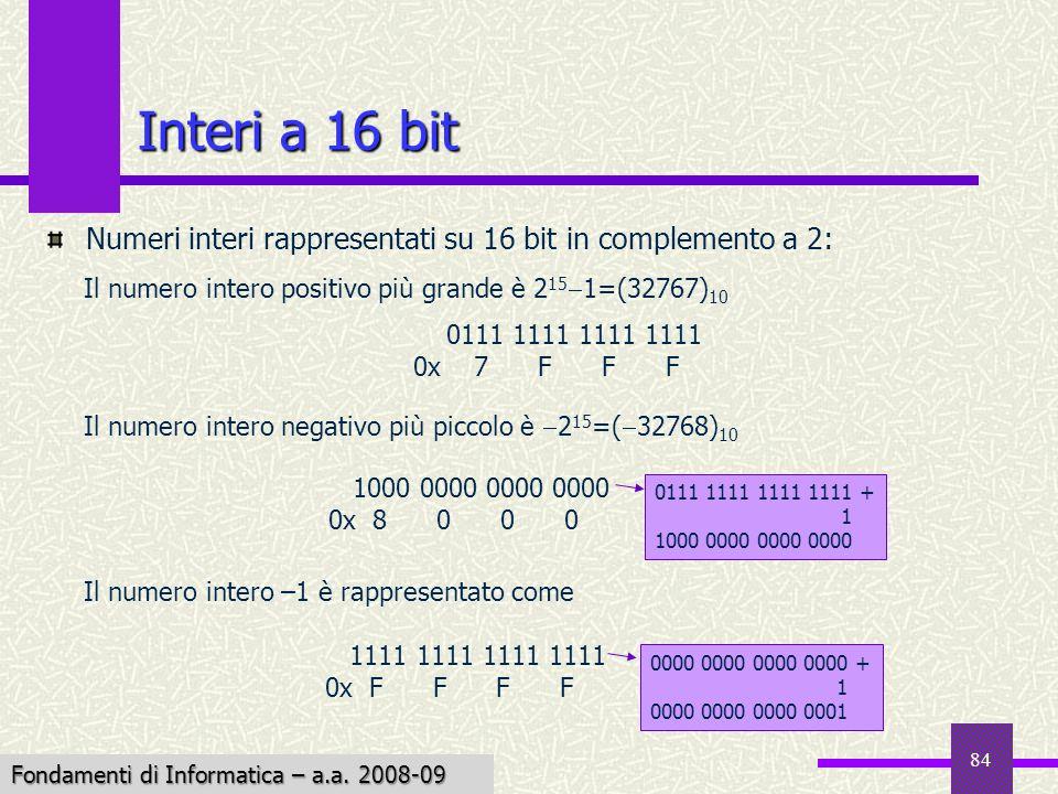 Interi a 16 bit Numeri interi rappresentati su 16 bit in complemento a 2: Il numero intero positivo più grande è 2151=(32767)10.