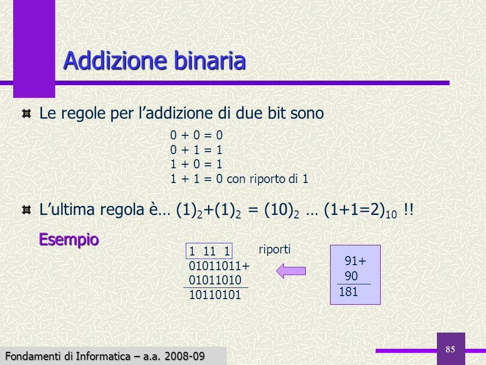 Addizione binaria Le regole per l'addizione di due bit sono