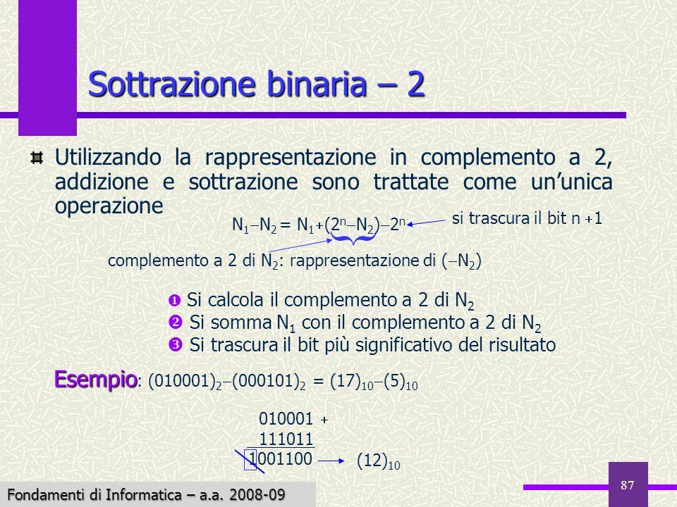 { Sottrazione binaria – 2