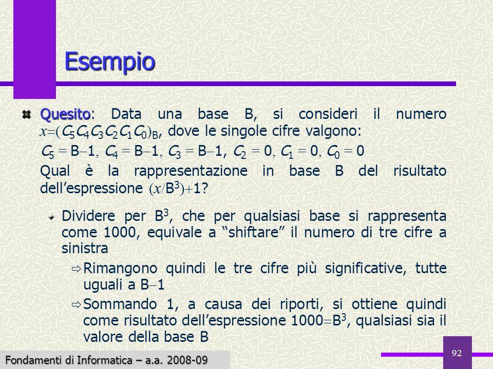Esempio Quesito: Data una base B, si consideri il numero x(C5C4C3C2C1C0)B, dove le singole cifre valgono:
