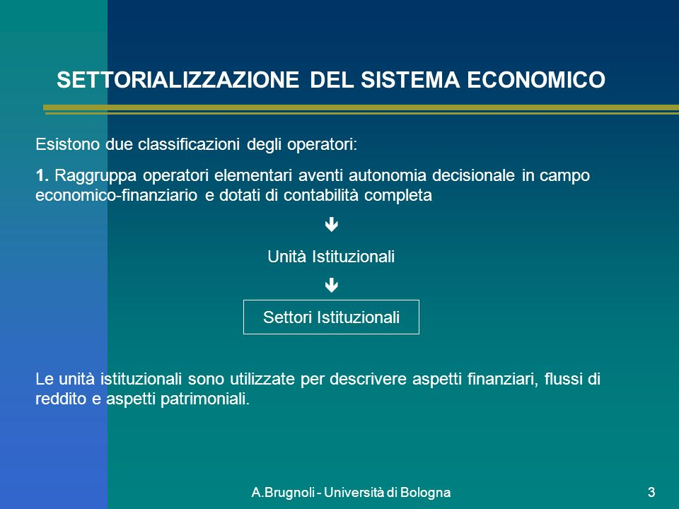 SETTORIALIZZAZIONE DEL SISTEMA ECONOMICO