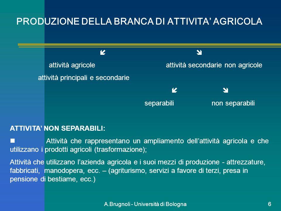 PRODUZIONE DELLA BRANCA DI ATTIVITA' AGRICOLA