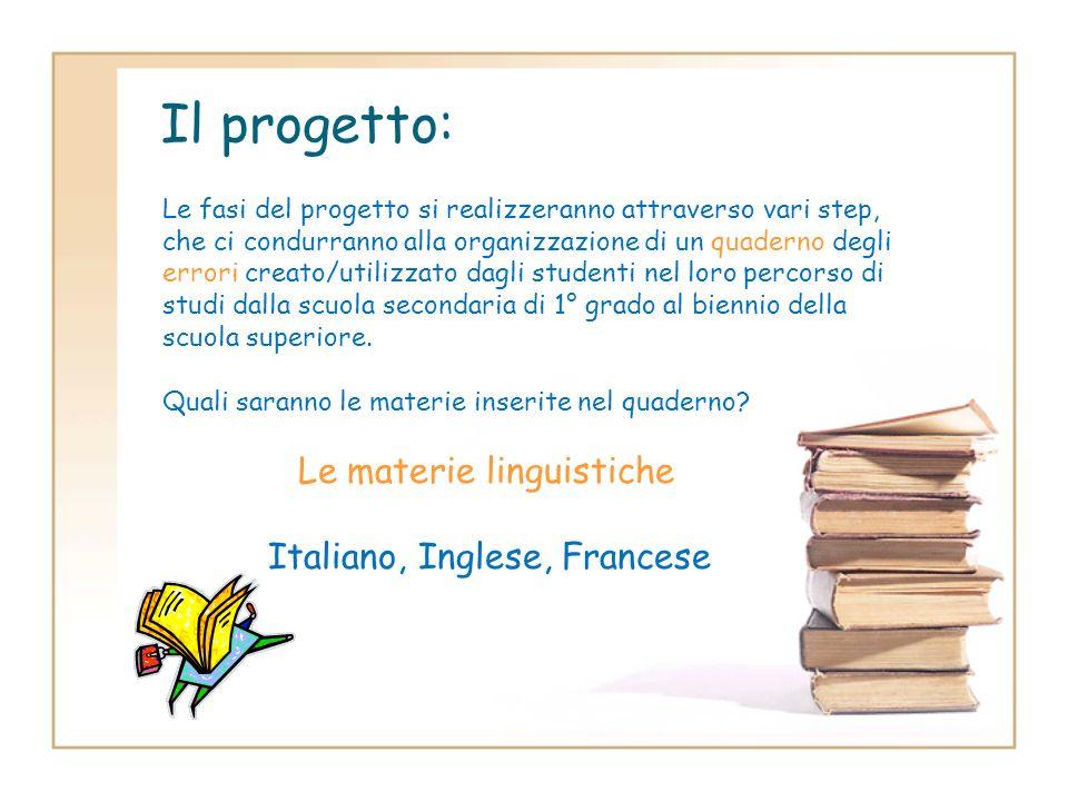 Il progetto: Italiano, Inglese, Francese