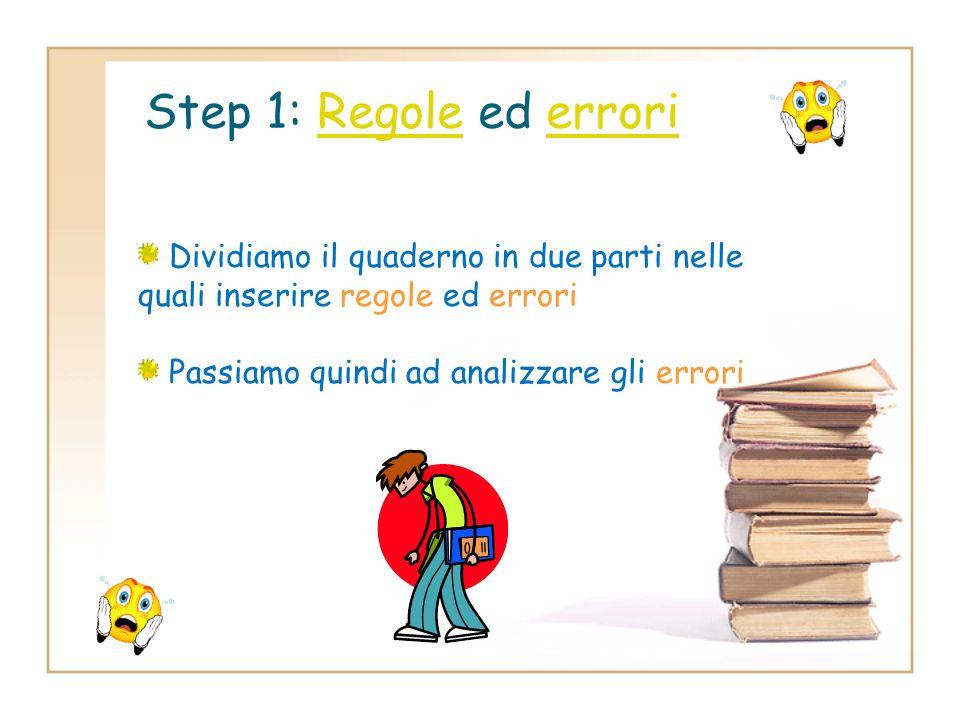 Step 1: Regole ed errori Dividiamo il quaderno in due parti nelle quali inserire regole ed errori.