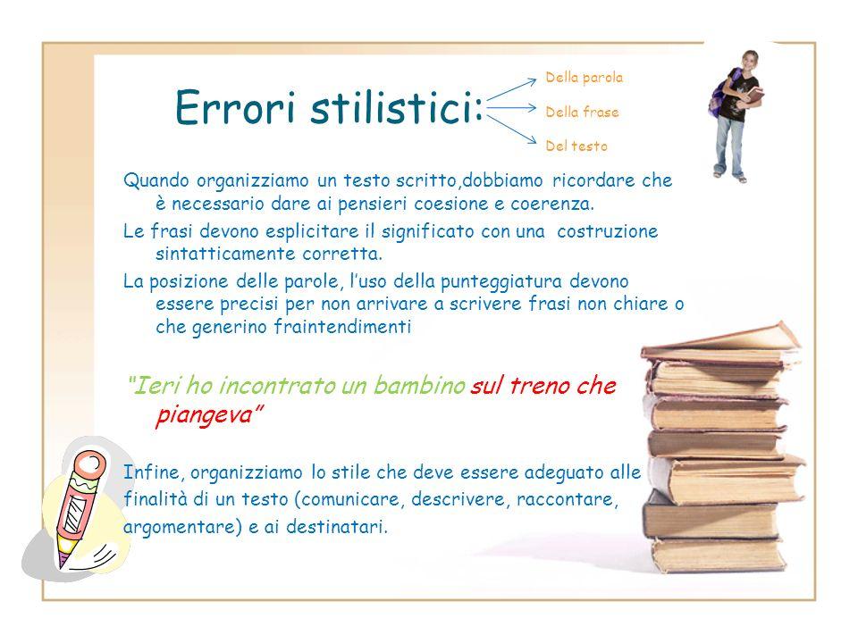 Errori stilistici:Della parola. Della frase. Del testo.