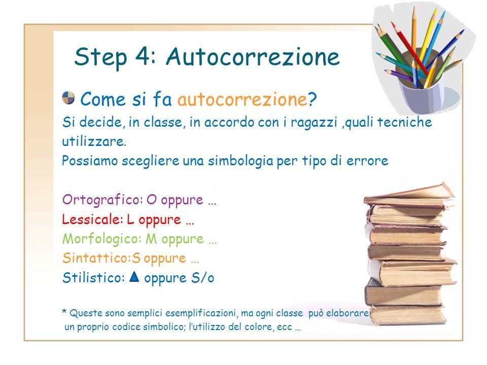 Step 4: Autocorrezione Come si fa autocorrezione