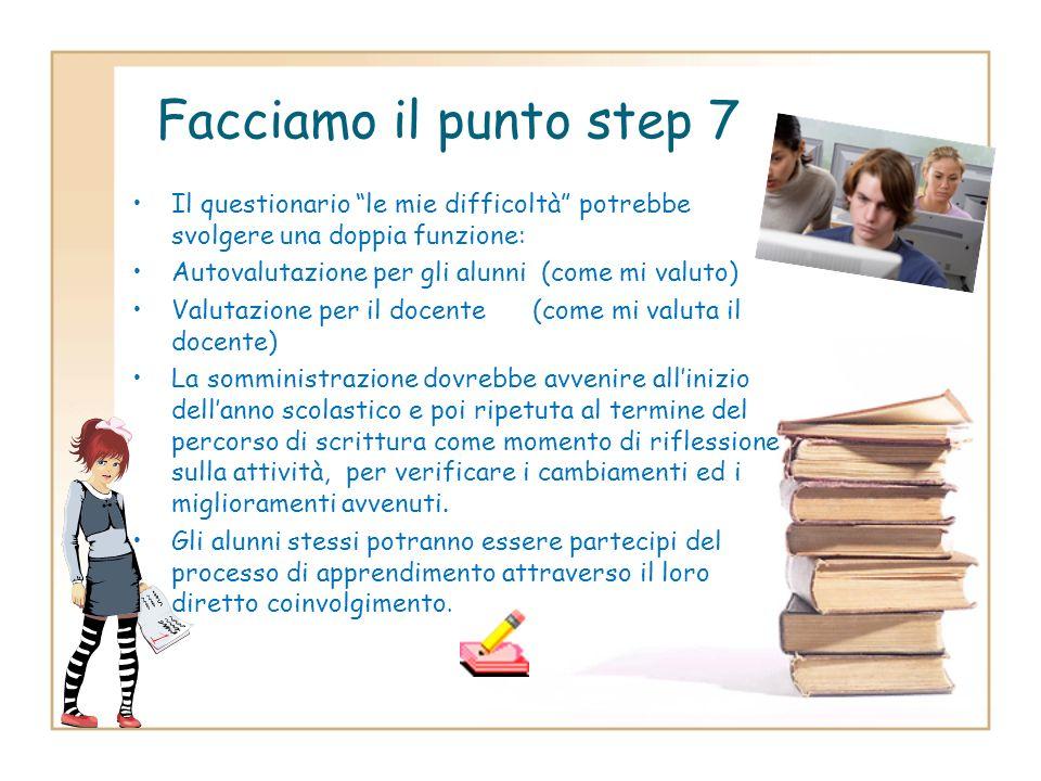 Facciamo il punto step 7Il questionario le mie difficoltà potrebbe svolgere una doppia funzione: Autovalutazione per gli alunni (come mi valuto)