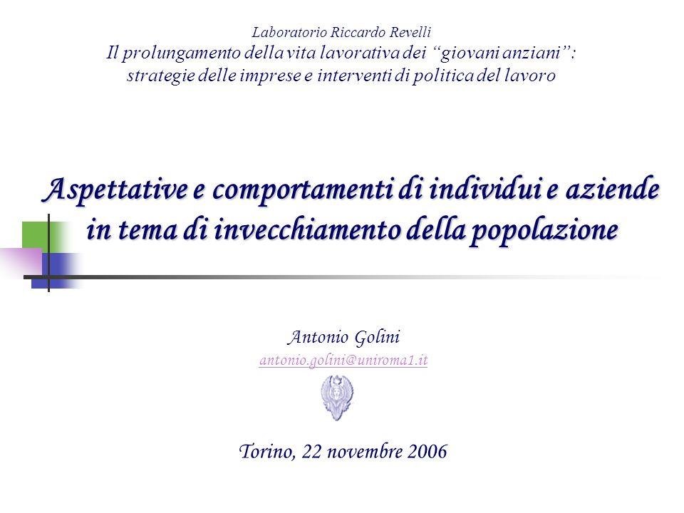 Laboratorio Riccardo Revelli Il prolungamento della vita lavorativa dei giovani anziani : strategie delle imprese e interventi di politica del lavoro