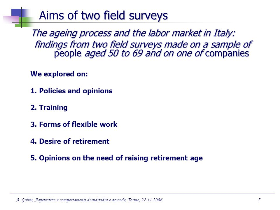 Aims of two field surveys
