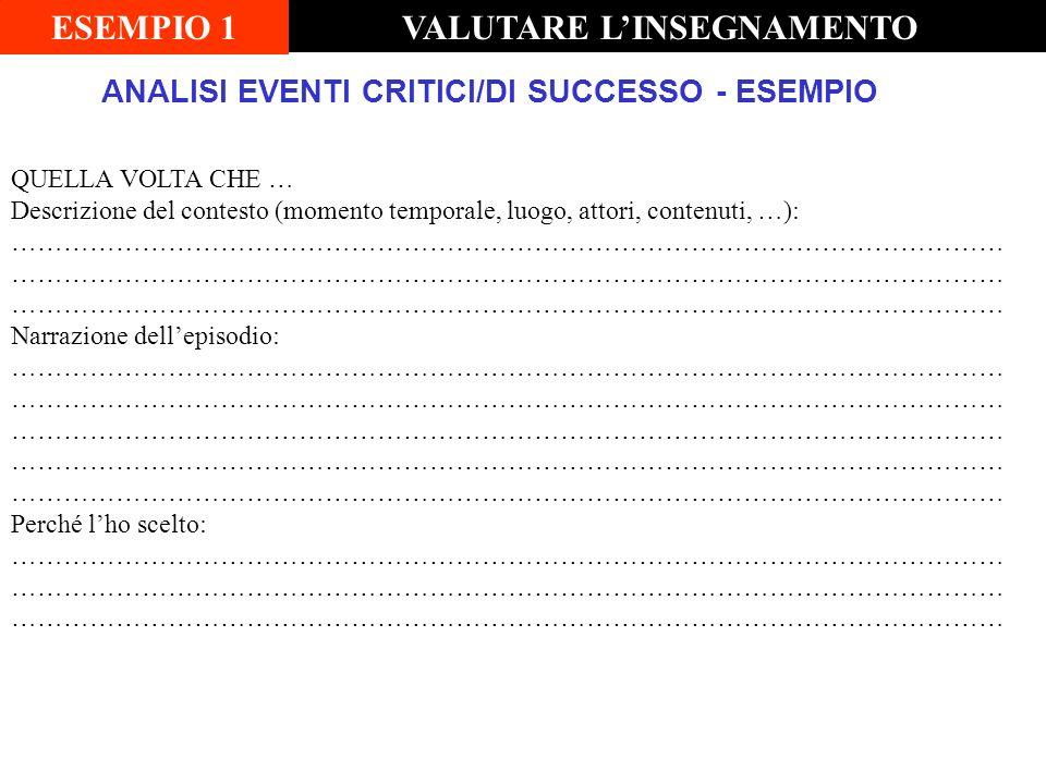 ANALISI EVENTI CRITICI/DI SUCCESSO - ESEMPIO