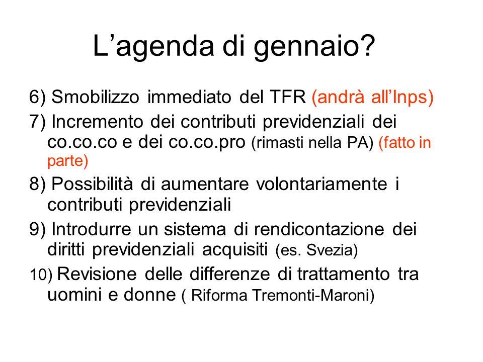 L'agenda di gennaio 6) Smobilizzo immediato del TFR (andrà all'Inps)