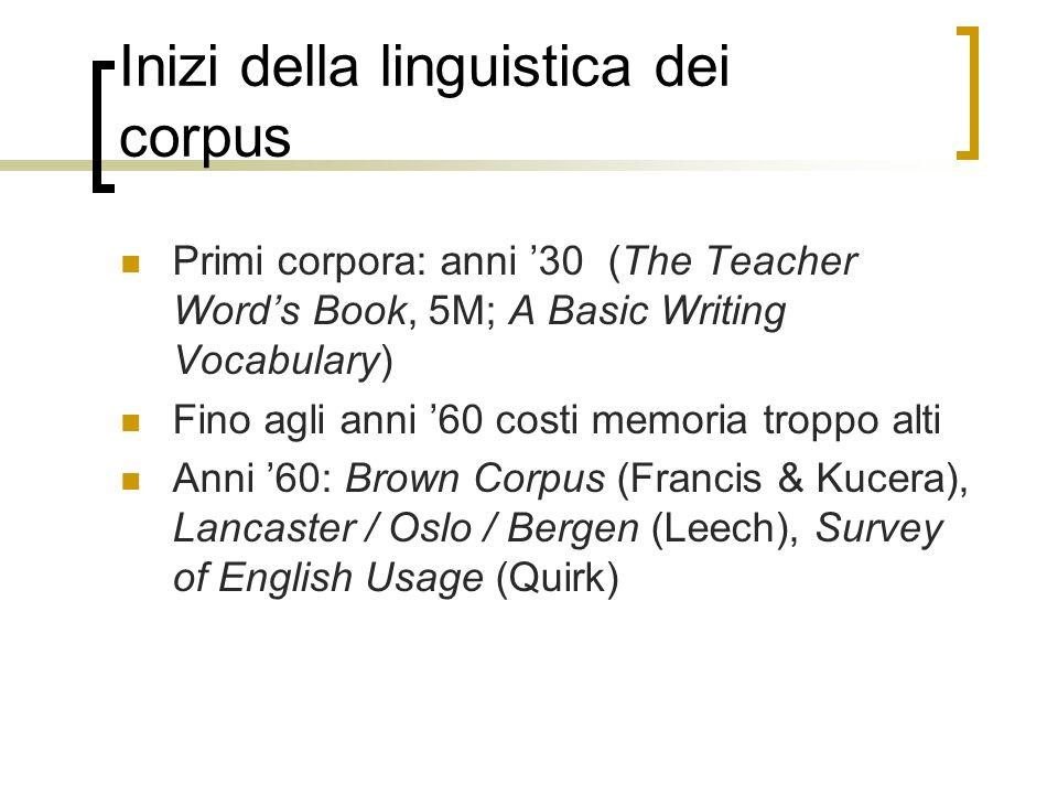 Inizi della linguistica dei corpus