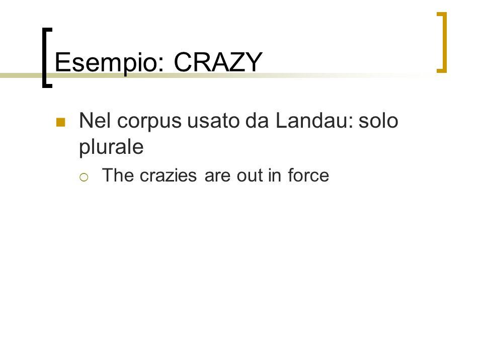 Esempio: CRAZY Nel corpus usato da Landau: solo plurale