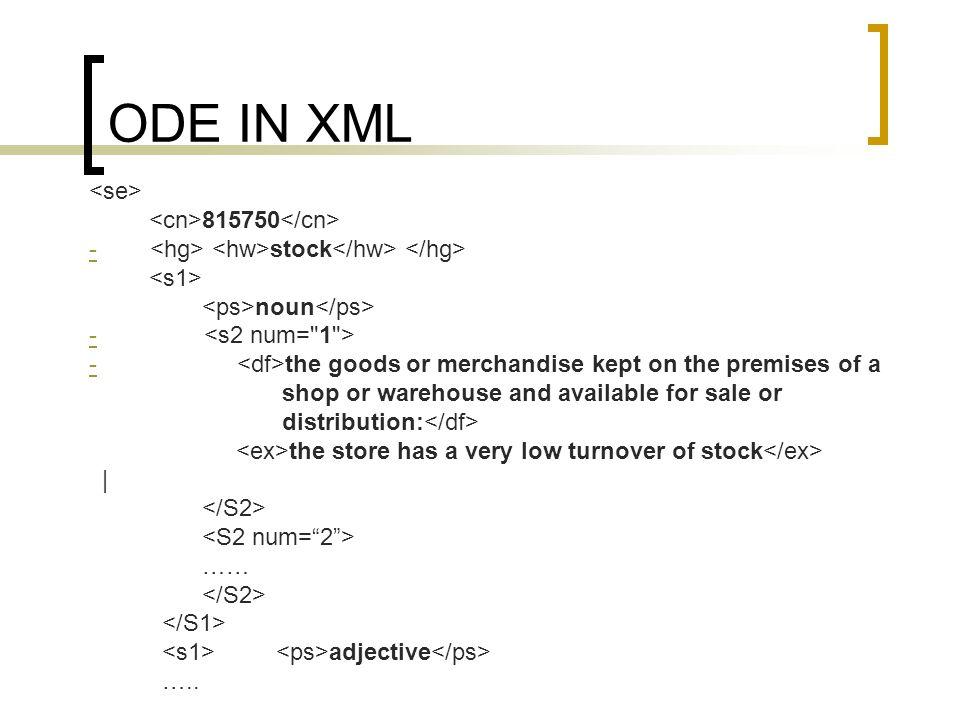 ODE IN XML <se> <cn>815750</cn>
