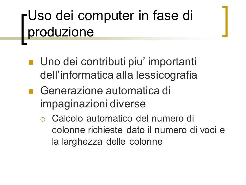 Uso dei computer in fase di produzione