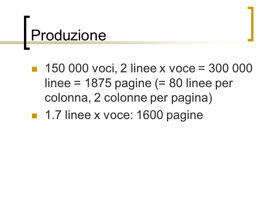 Produzione 150 000 voci, 2 linee x voce = 300 000 linee = 1875 pagine (= 80 linee per colonna, 2 colonne per pagina)