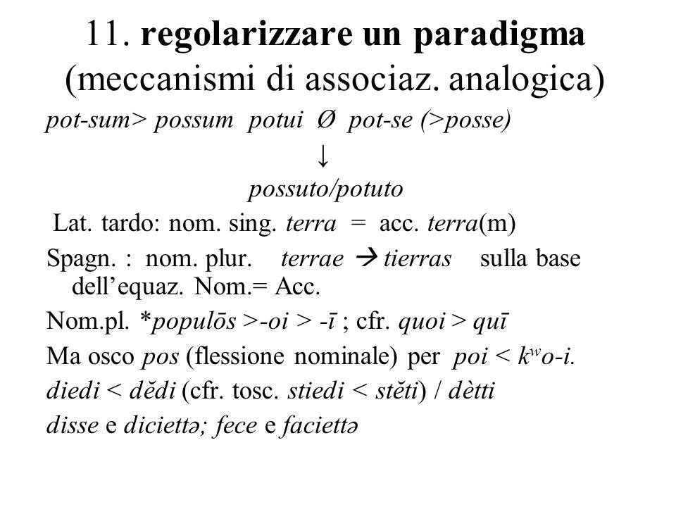 11. regolarizzare un paradigma (meccanismi di associaz. analogica)