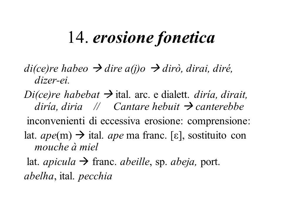 14. erosione fonetica di(ce)re habeo  dire a(j)o  dirò, dirai, diré, dizer-ei.