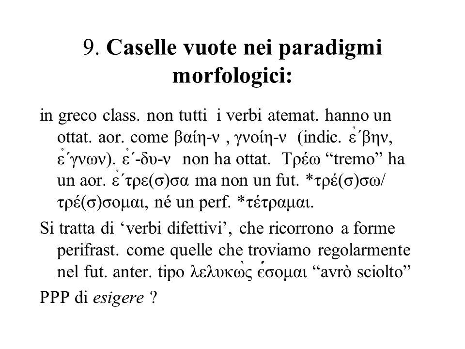 9. Caselle vuote nei paradigmi morfologici: