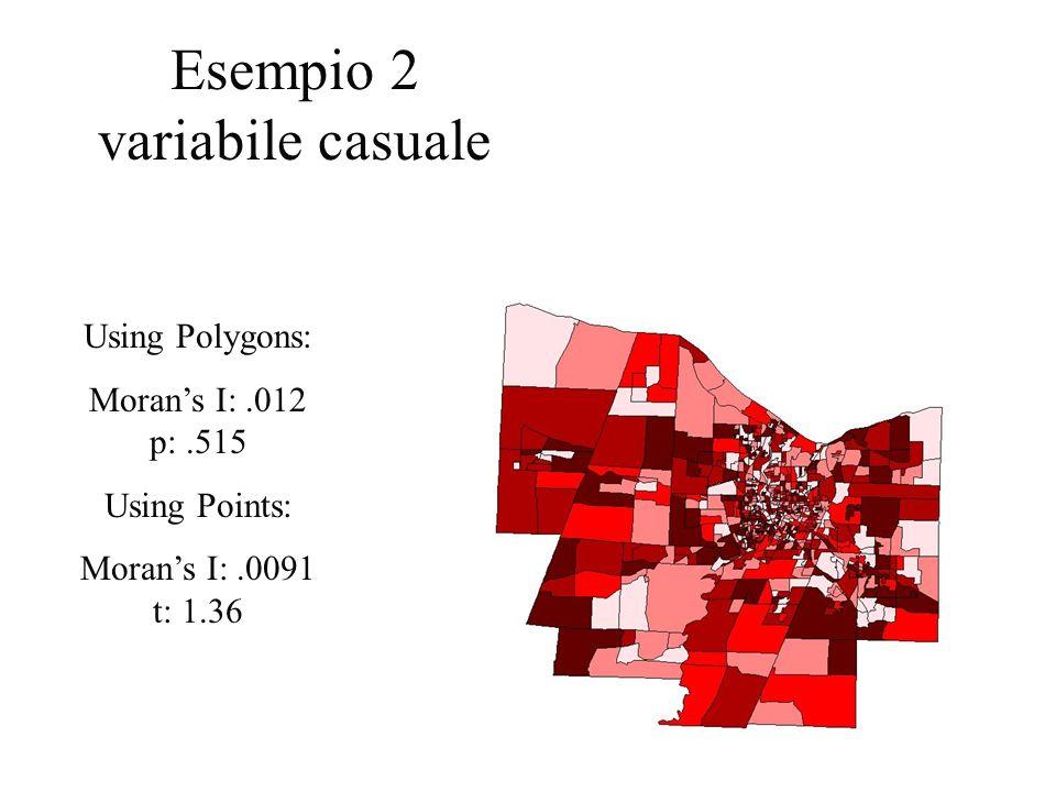 Esempio 2 variabile casuale Using Polygons: Moran's I: .012 p: .515