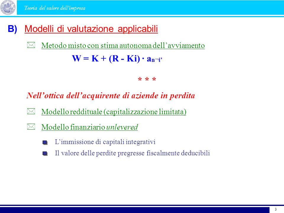 Modelli di valutazione applicabili