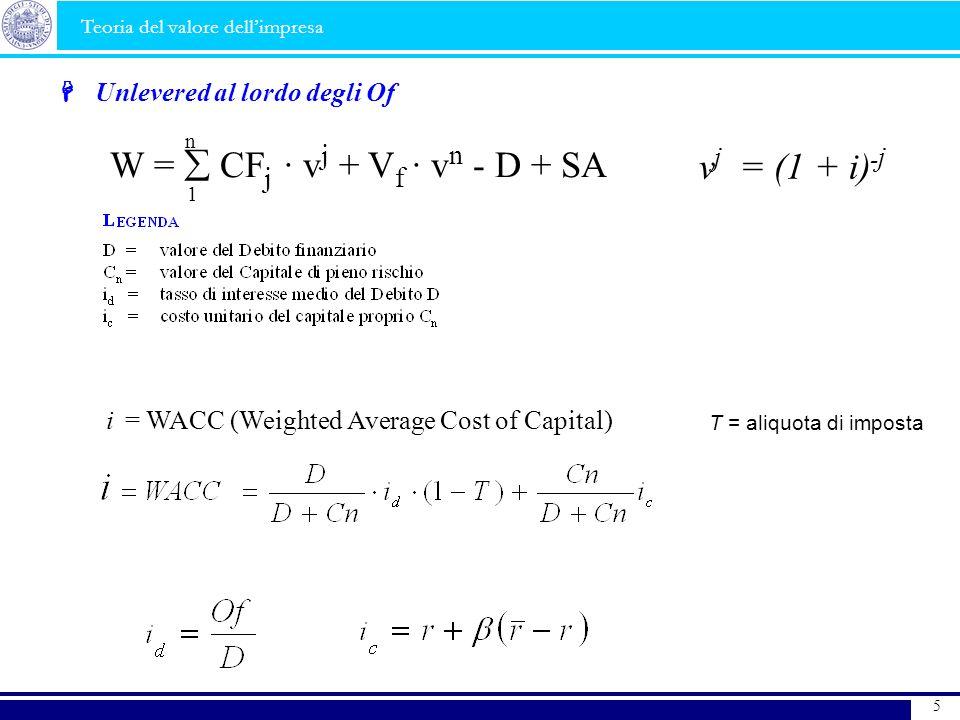W =  CFj · vj + Vf · vn - D + SA vj = (1 + i)-j