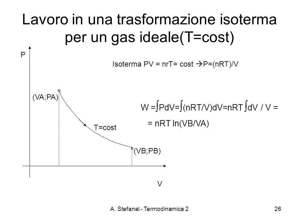 Lavoro in una trasformazione isoterma per un gas ideale(T=cost)
