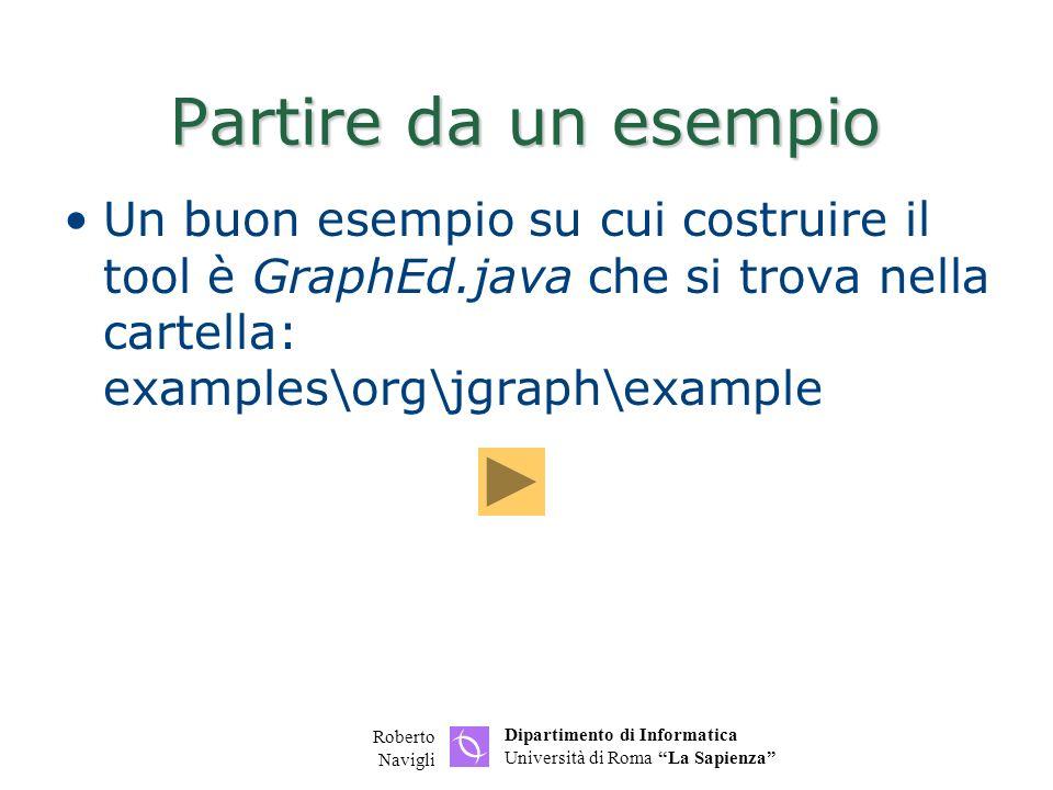 Partire da un esempio Un buon esempio su cui costruire il tool è GraphEd.java che si trova nella cartella: examples\org\jgraph\example.