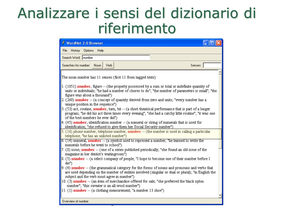 Analizzare i sensi del dizionario di riferimento