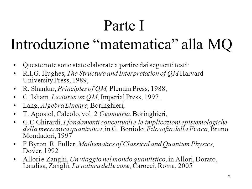 Parte I Introduzione matematica alla MQ