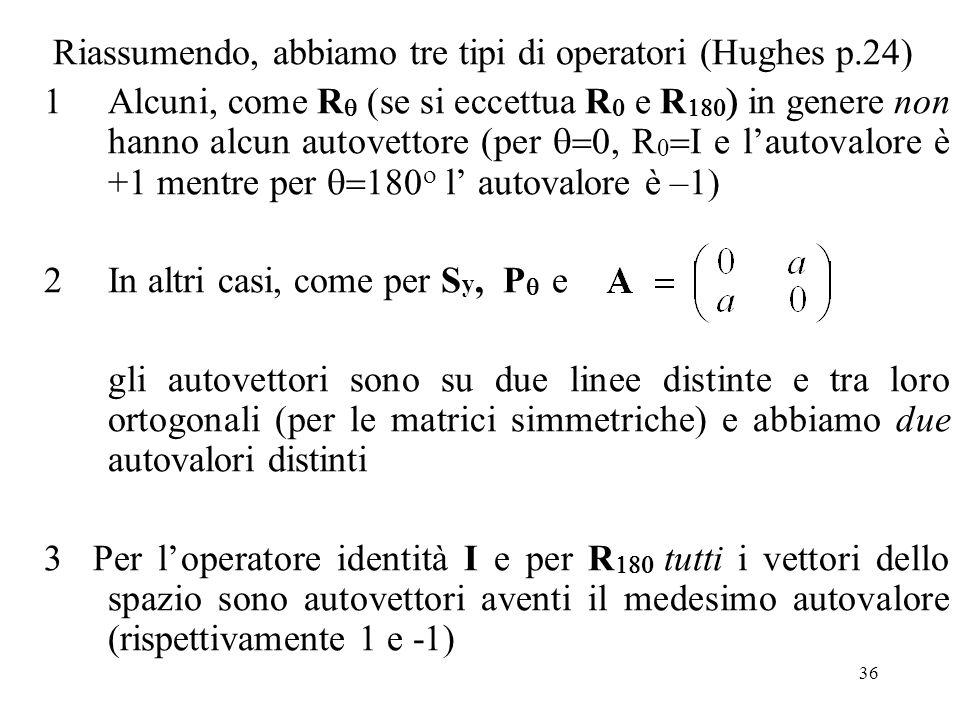 Riassumendo, abbiamo tre tipi di operatori (Hughes p.24)