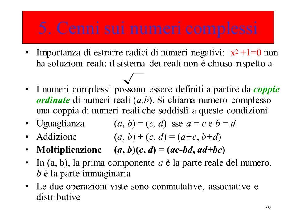 5. Cenni sui numeri complessi