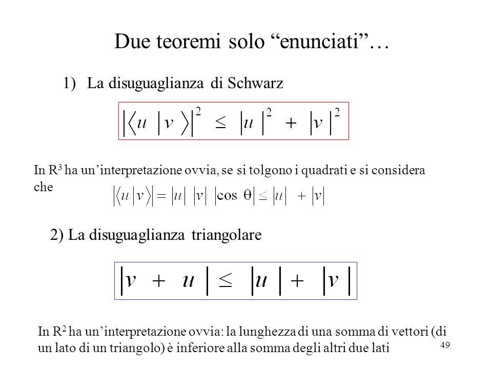 Due teoremi solo enunciati …