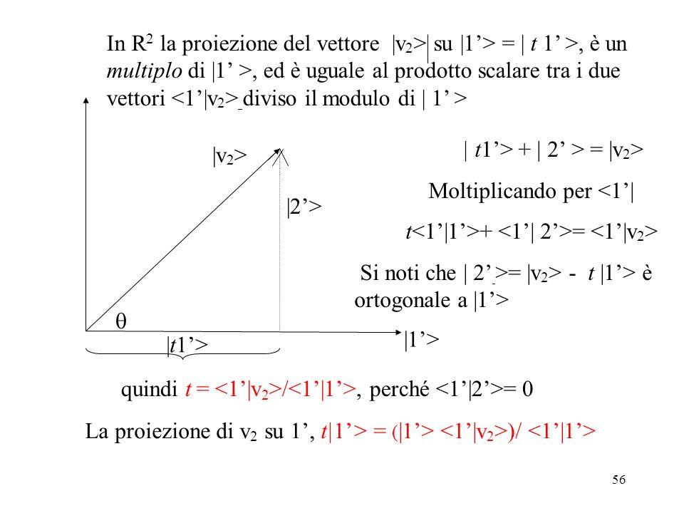 In R2 la proiezione del vettore |v2> su |1'> = | t 1' >, è un multiplo di |1' >, ed è uguale al prodotto scalare tra i due vettori <1'|v2> diviso il modulo di | 1' >