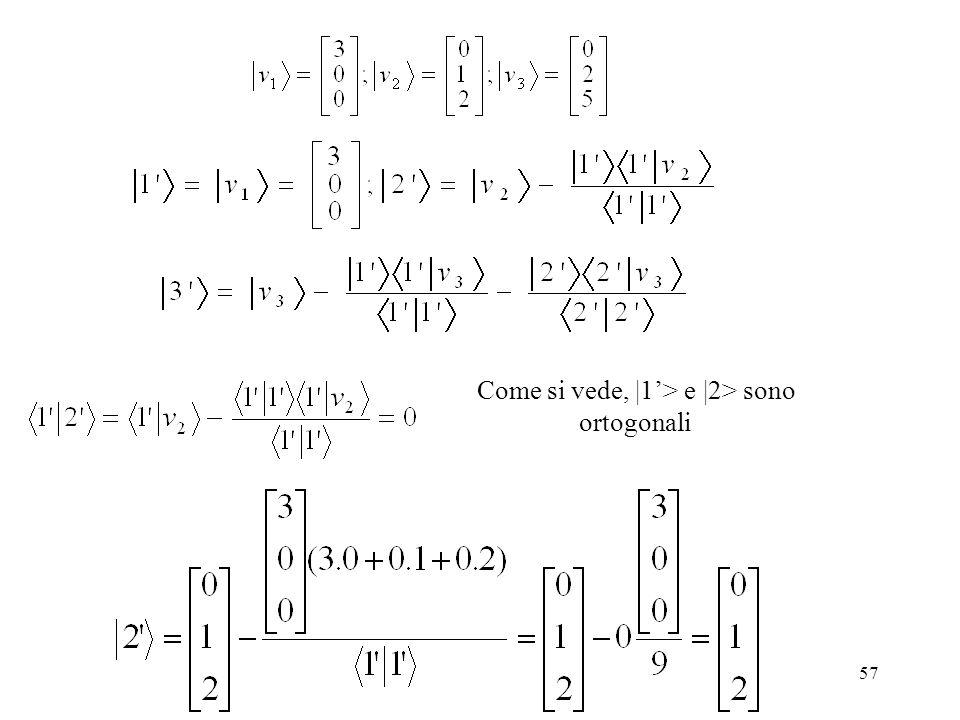 Come si vede, |1'> e |2> sono ortogonali