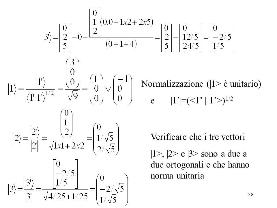 Normalizzazione (|1> è unitario)