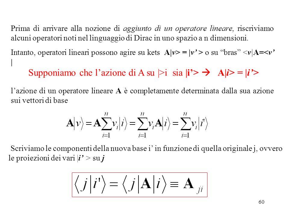 Supponiamo che l'azione di A su |>i sia |i'>  A|i> = |i'>