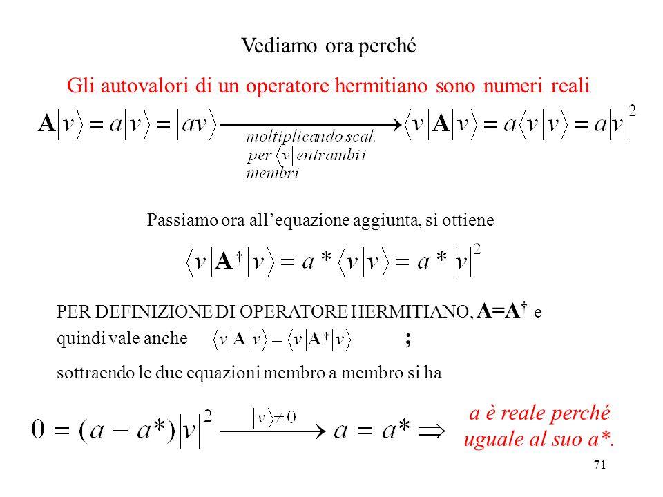 Gli autovalori di un operatore hermitiano sono numeri reali
