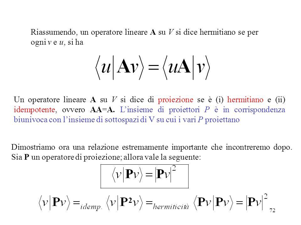 Riassumendo, un operatore lineare A su V si dice hermitiano se per ogni v e u, si ha