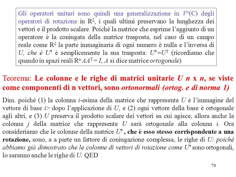 Gli operatori unitari sono quindi una generalizzazione in Vn(C) degli operatori di rotazione in R2, i quali ultimi preservano la lunghezza dei vettori e il prodotto scalare. Poiché la matrice che esprime l'aggiunto di un operatore è la coniugata della matrice trasposta, nel caso di un campo reale come R2 la parte immaginaria di ogni numero è nulla e l'inversa di U, che è U† è semplicemente la sua trasposta: U†=UT (ricordiamo che quando in spazi reali Rn AAT = I, A si dice matrice ortogonale)
