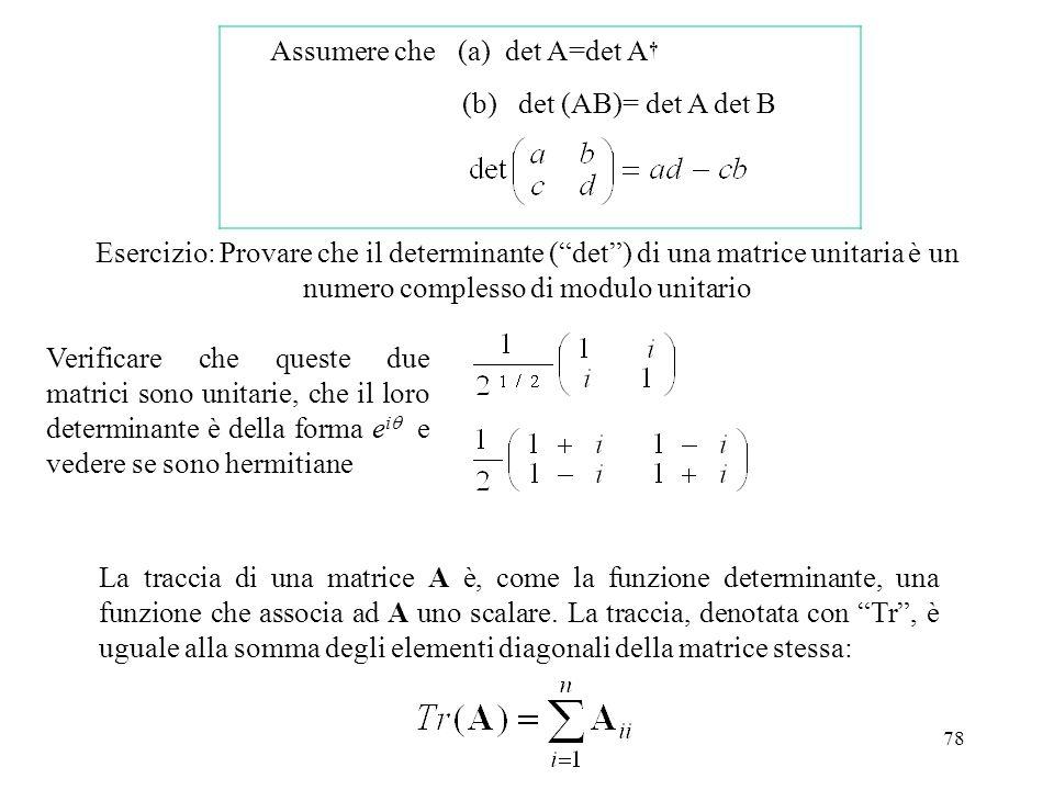 Assumere che (a) det A=det A† (b) det (AB)= det A det B.
