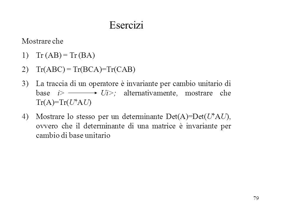 Esercizi Mostrare che Tr (AB) = Tr (BA) Tr(ABC) = Tr(BCA)=Tr(CAB)