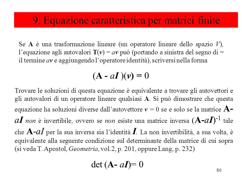 9. Equazione caratteristica per matrici finite